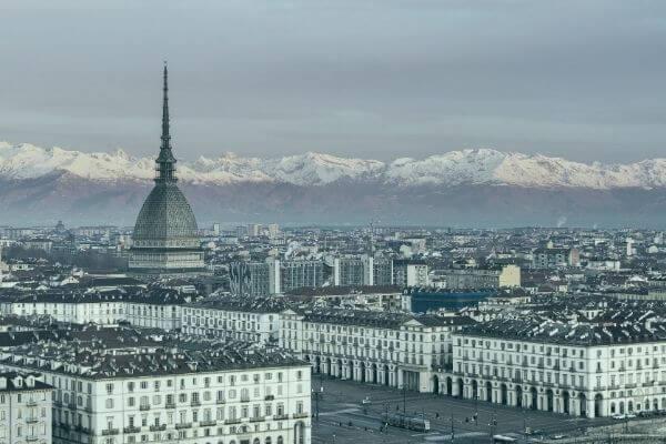 Vista di Torino con colori sfumati